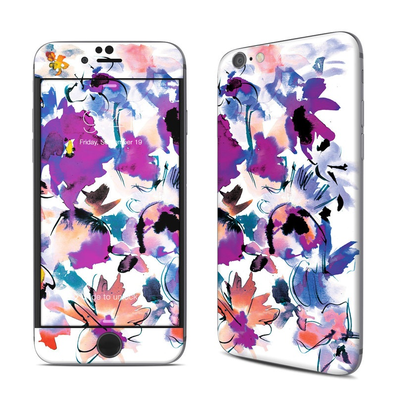 iPhone 6s Skin design of Product, Purple, Illustration, Graphic design, Plant, Clip art, Flower, Graphics, Wildflower, Watercolor paint with white, purple, pink, yellow, blue, black colors