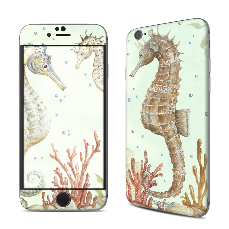 iPhone 6s Skin design of Seahorse, Syngnathiformes, Northern Seahorse, Fish, Organism, Design, Illustration, Pattern, Wildlife, Wallpaper with gray, yellow, green, red colors