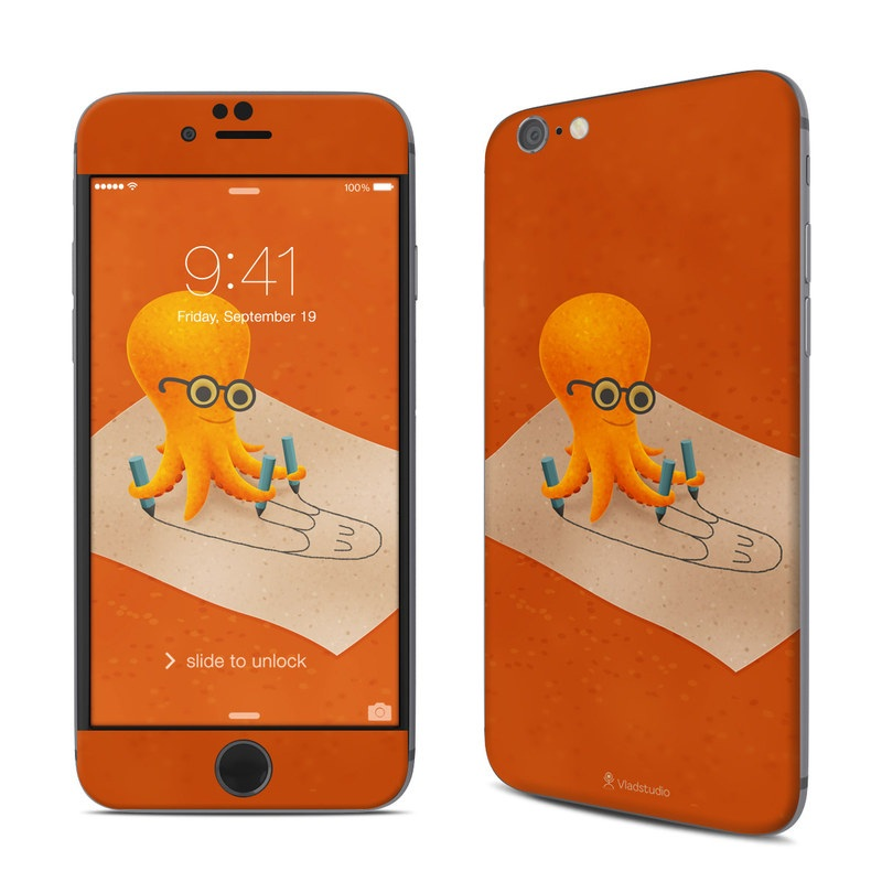 iPhone 6s Skin design of Orange, Illustration, Octopus, Cephalopod, Construction paper, Paper, Animation, Art with orange, white, black, brown, blue colors