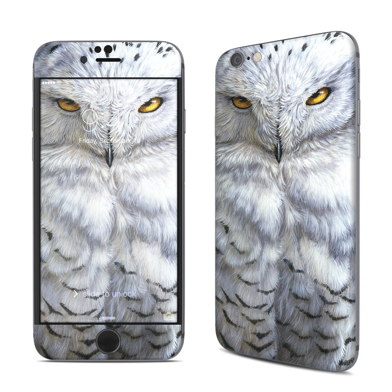 iPhone 6s Skin design of Owl, Bird, Bird of prey, Snowy owl, great grey owl, Close-up, Eye, Snout, Wildlife, Eastern Screech owl with gray, white, black, blue, purple colors
