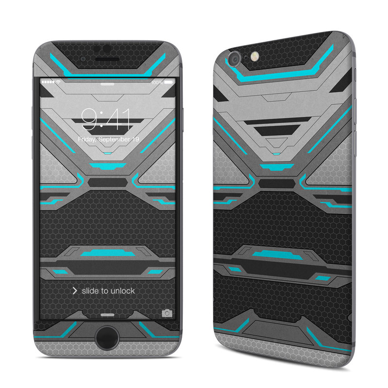 iPhone 6s Skin design of Blue, Turquoise, Pattern, Teal, Symmetry, Design, Line, Automotive design, Font with black, gray, blue colors