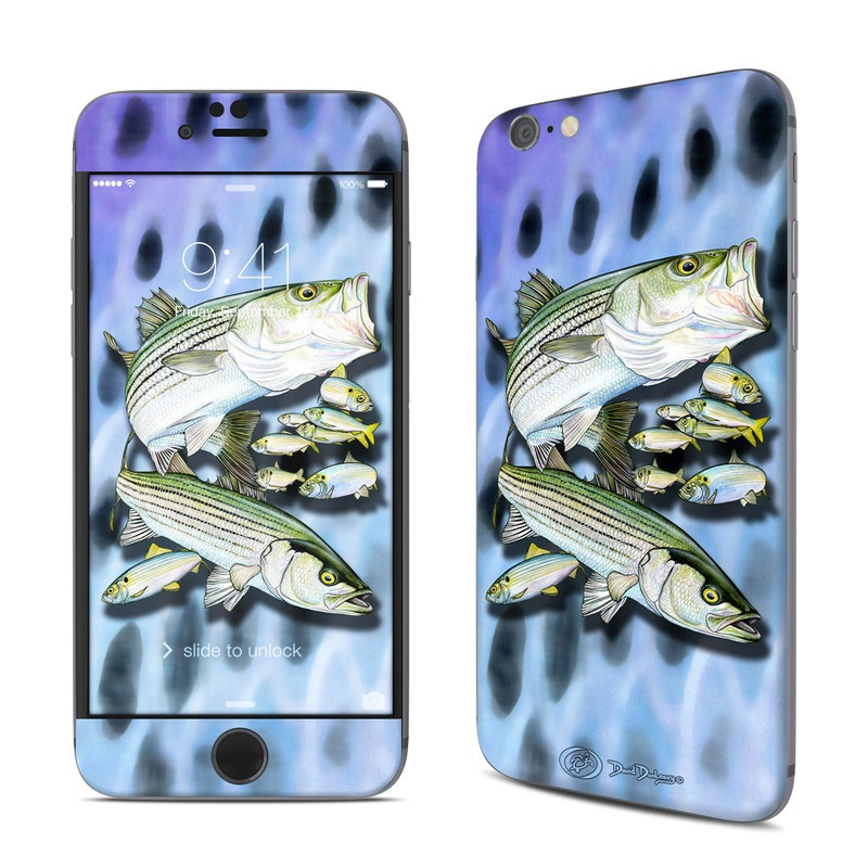 iPhone 6s Skin design of Fish, Bass, Bony-fish, Ray-finned fish, Northern largemouth bass, Trout with gray, black, blue, purple, green colors