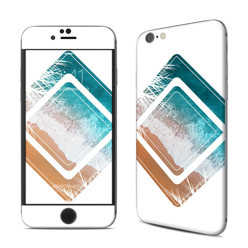 iPhone 6s Skin design of Turquoise, Teal, Aqua, Brown, Technology, Tableware, Rectangle with white, blue, brown, orange colors