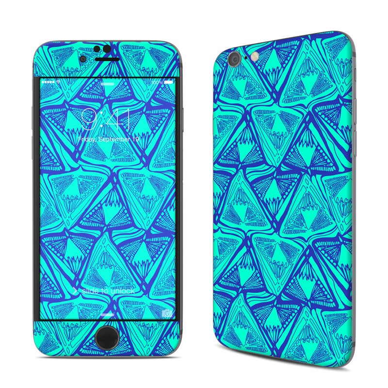 iPhone 6s Skin design of Pattern, Turquoise, Green, Teal, Line, Design, Symmetry, Electric blue, Triangle with blue, green colors