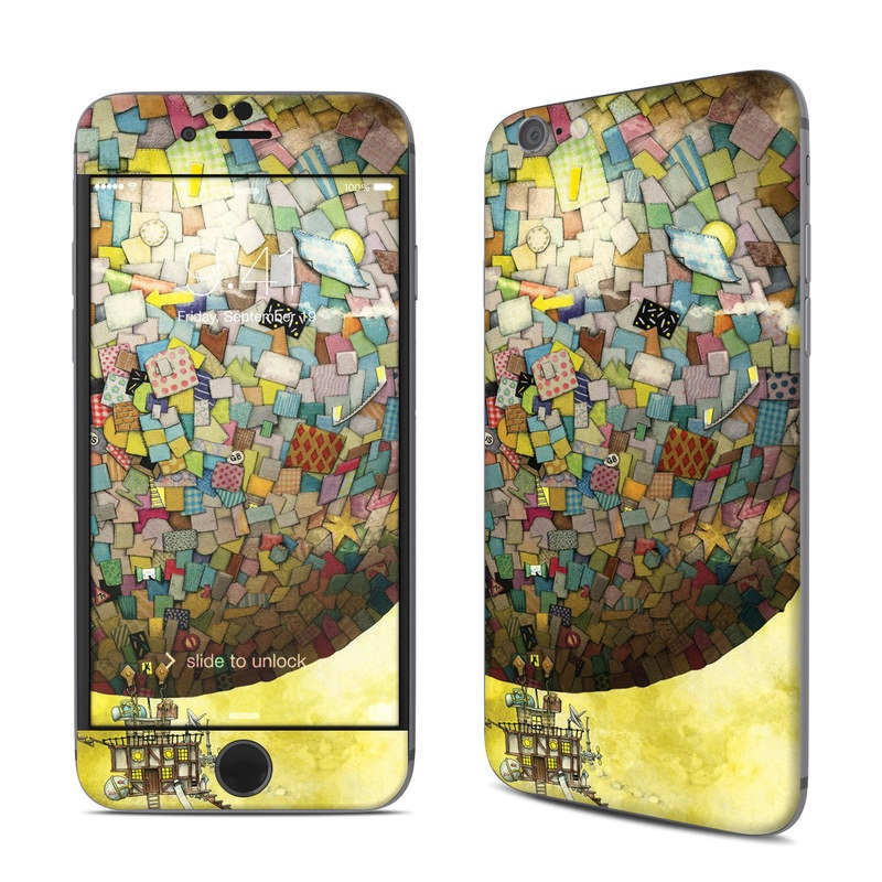 iPhone 6s Skin design of World, Illustration, Art, Sphere, Pattern, Painting with yellow, brown, red, blue, orange, green colors