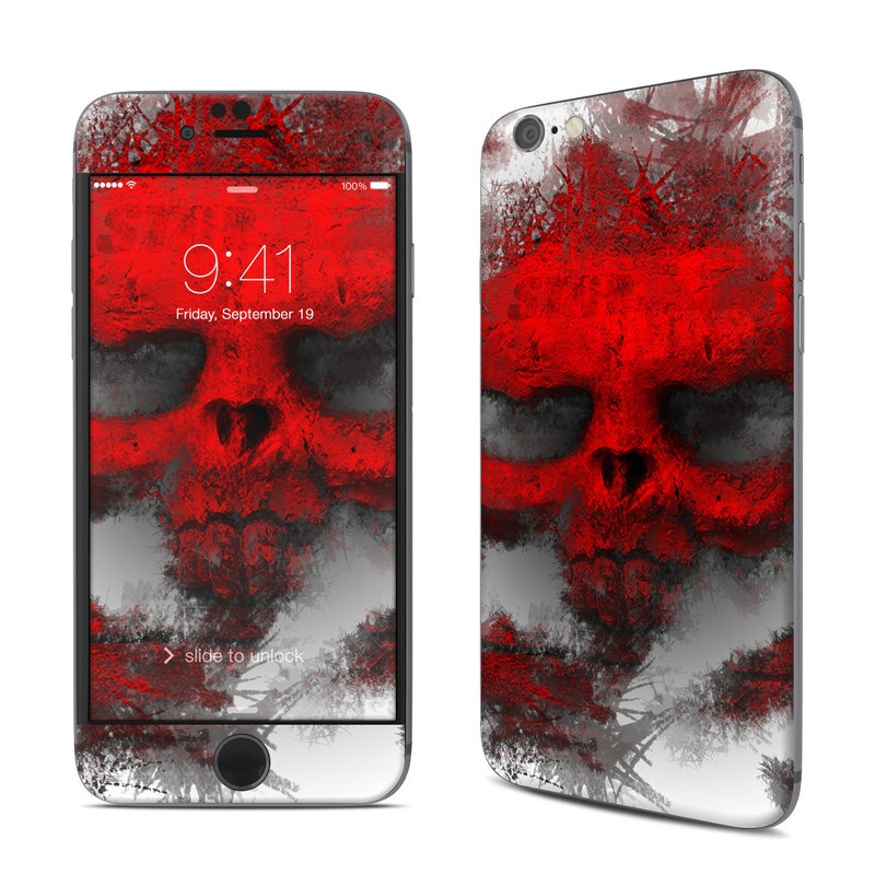 iPhone 6s Skin design of Red, Graphic design, Skull, Illustration, Bone, Graphics, Art, Fictional character with red, gray, black, white colors