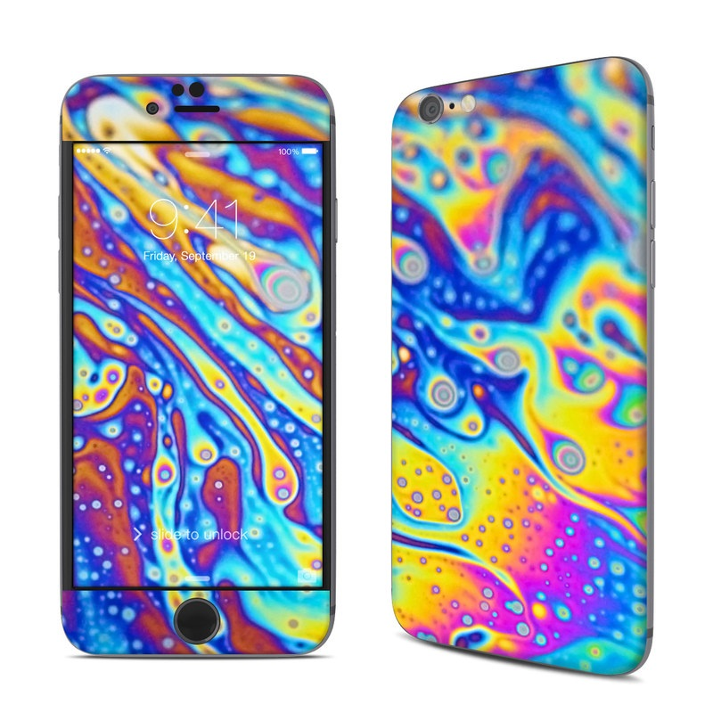 iPhone 6s Skin design of Psychedelic art, Blue, Pattern, Art, Visual arts, Water, Organism, Colorfulness, Design, Textile with gray, blue, orange, purple, green colors