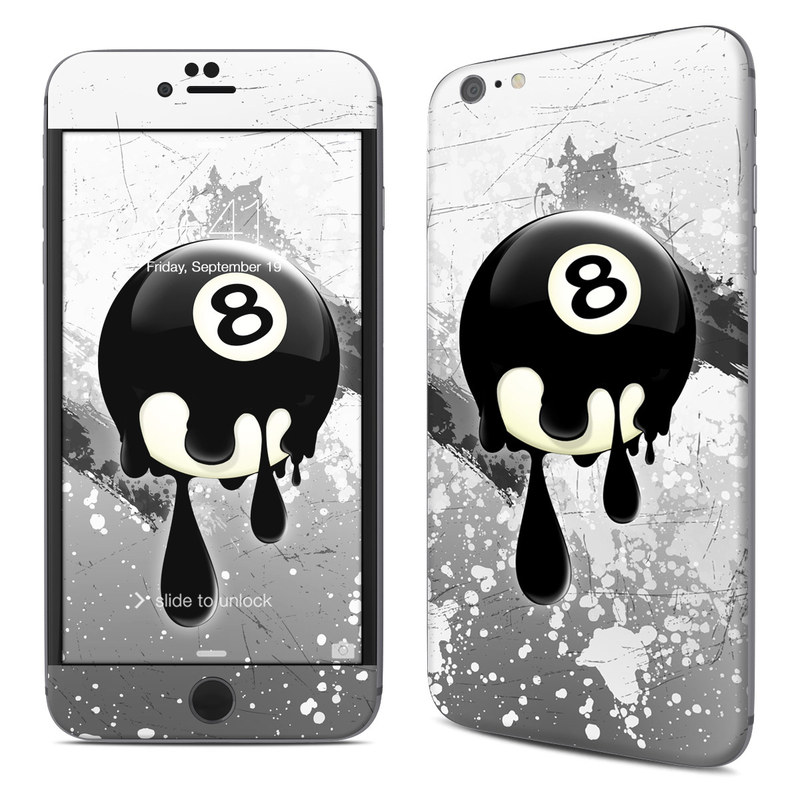 iPhone 6s Plus Skin design of Eight-ball, Games, Billiard ball, Pool, Indoor games and sports, Cartoon, Ball, Graphic design, Pocket billiards, Animated cartoon with black, yellow, green colors