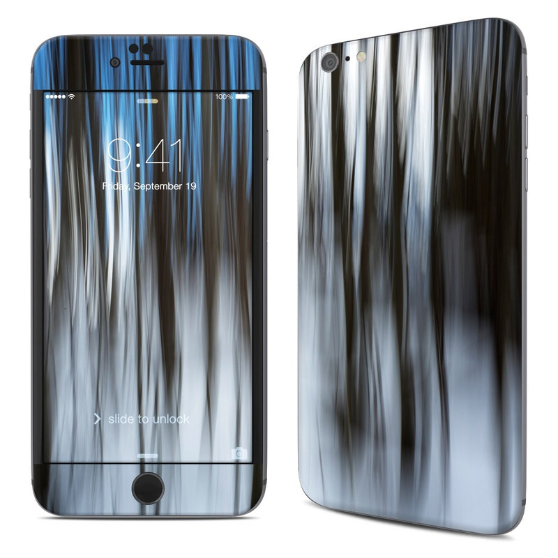 iPhone 6s Plus Skin design of Water, Blue, Natural environment, Tree, Forest, Line, Waterfall, Plant, Black-and-white, Reflection with black, white, blue colors