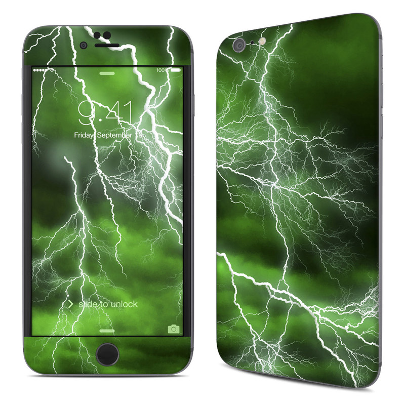 iPhone 6s Plus Skin design of Thunderstorm, Thunder, Lightning, Nature, Green, Water, Sky, Atmosphere, Atmospheric phenomenon, Daytime with green, black, white colors