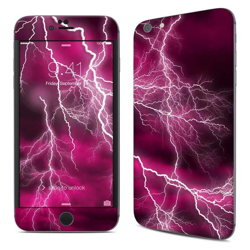 iPhone 6s Plus Skin design of Thunder, Lightning, Thunderstorm, Sky, Nature, Purple, Red, Atmosphere, Violet, Pink with pink, black, white colors