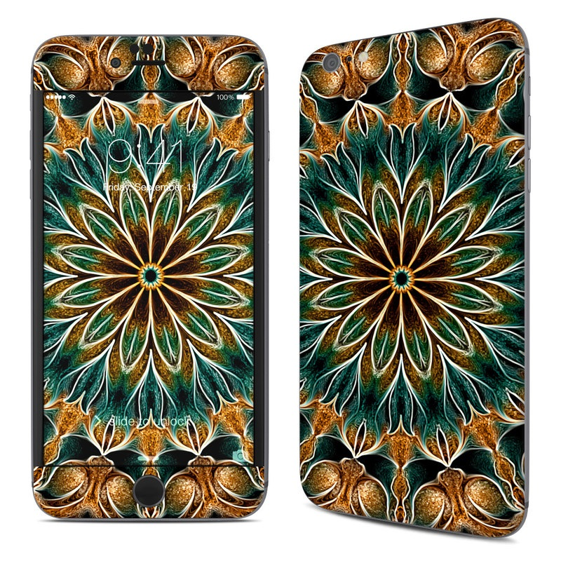 iPhone 6s Plus Skin design of Pattern, Symmetry, Textile, Art, Psychedelic art, Tapestry, Design, Visual arts, Kaleidoscope, Motif with green, orange, yellow, brown, red colors