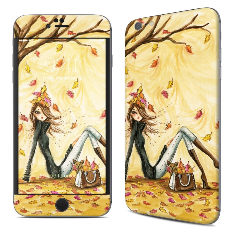 iPhone 6s Plus Skin design of Painting, Watercolor paint, Tree, Art, Illustration, Plant, Modern art, Visual arts, Still life, Fictional character with yellow, red, brown, orange, black, white colors