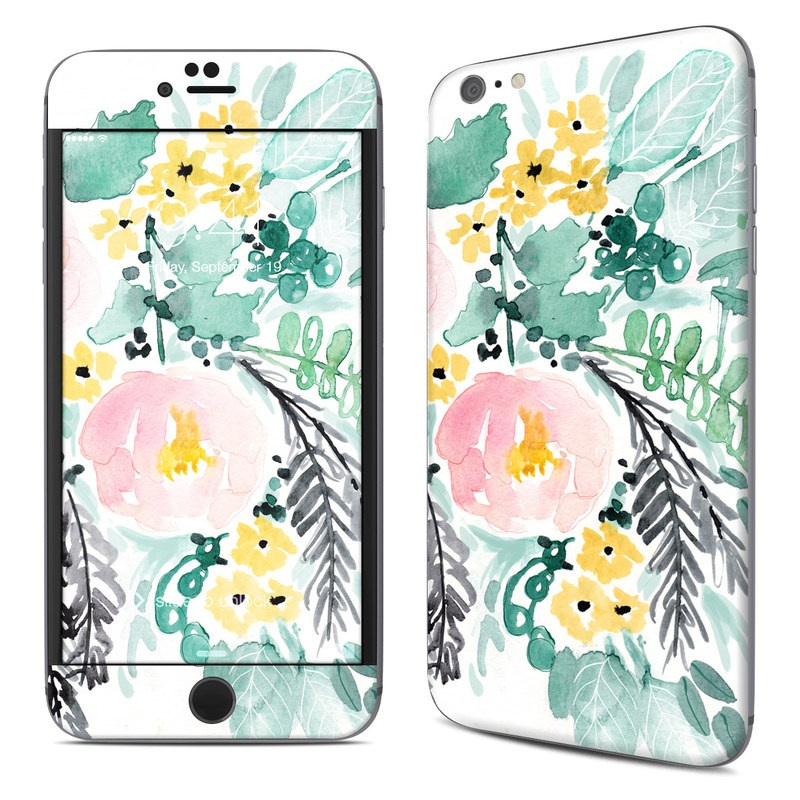 iPhone 6s Plus Skin design of Branch, Clip art, Watercolor paint, Flower, Leaf, Botany, Plant, Illustration, Design, Graphics with green, pink, red, orange, yellow colors
