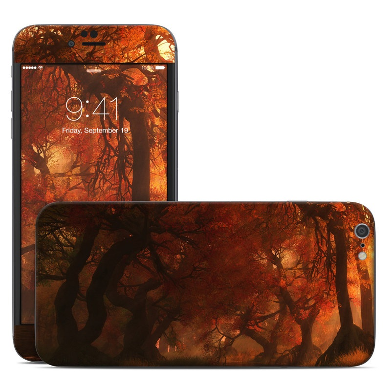 iPhone 6s Plus Skin design of Nature, Natural environment, Atmospheric phenomenon, Forest, Northern hardwood forest, Biome, Tree, Wildfire, Woodland, Cg artwork with black, red, yellow, orange, brown colors