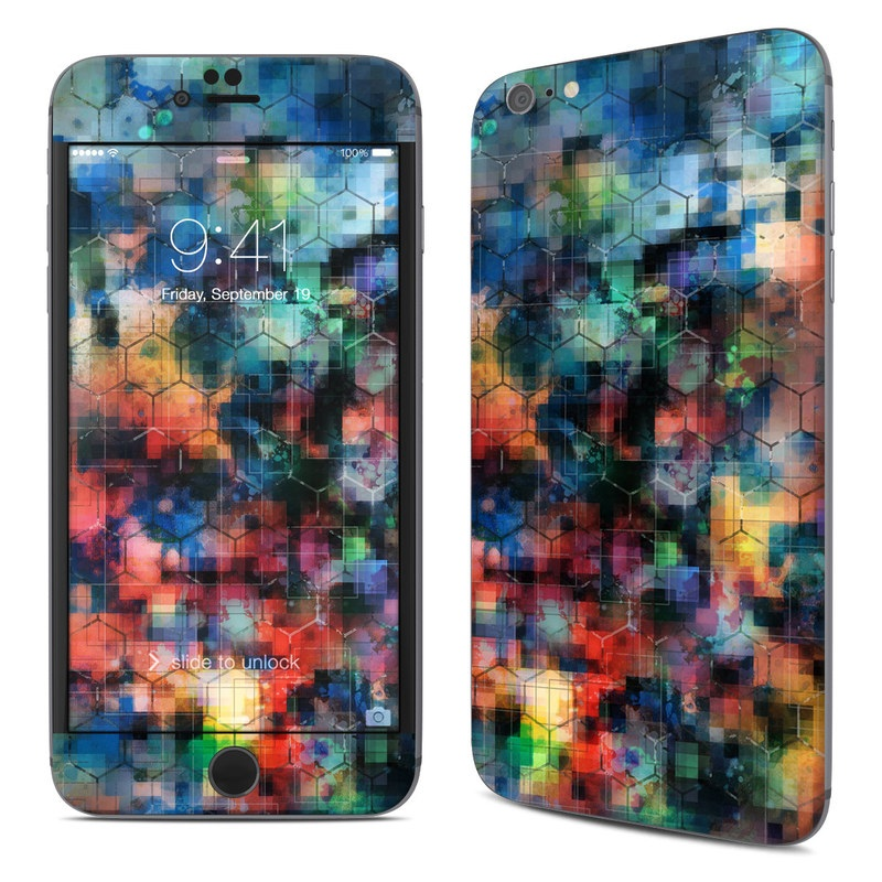 iPhone 6s Plus Skin design of Blue, Colorfulness, Pattern, Psychedelic art, Art, Sky, Design, Textile, Dye, Modern art with black, blue, red, gray, green colors