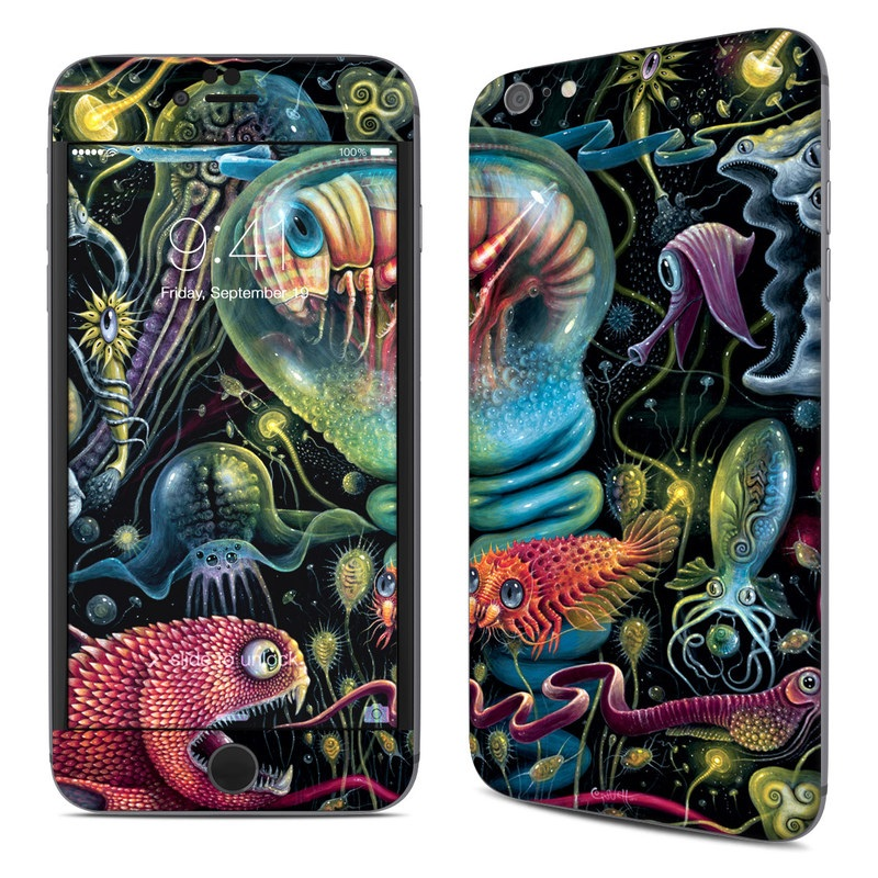 iPhone 6s Plus Skin design of Psychedelic art, Graphic design, Art, Organism, Illustration, Design, Pattern, Fractal art, Cg artwork, Fictional character with black, red, gray, green, blue colors
