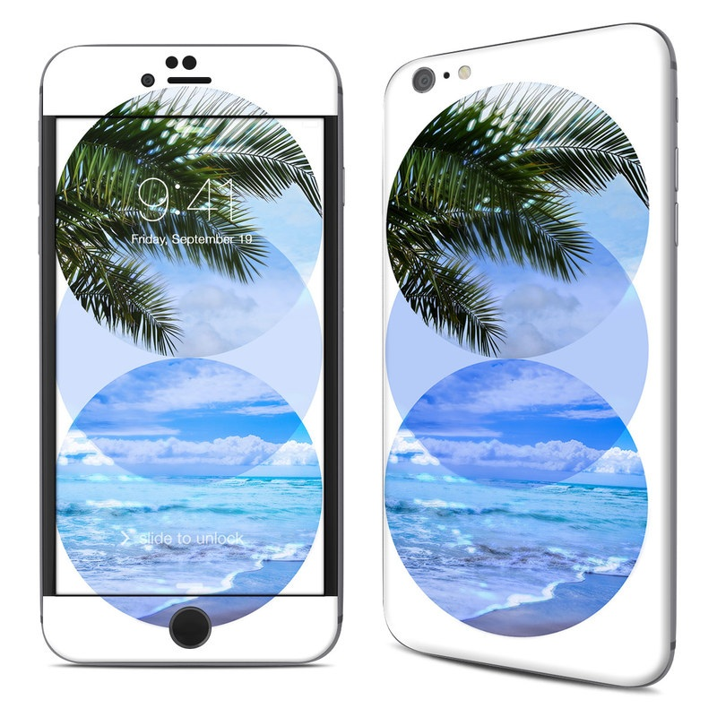 iPhone 6s Plus Skin design of Sky, Blue, Tree, Aqua, Plate, Palm tree, Ocean, Caribbean, Leaf, Tropics with white, blue, green, purple colors