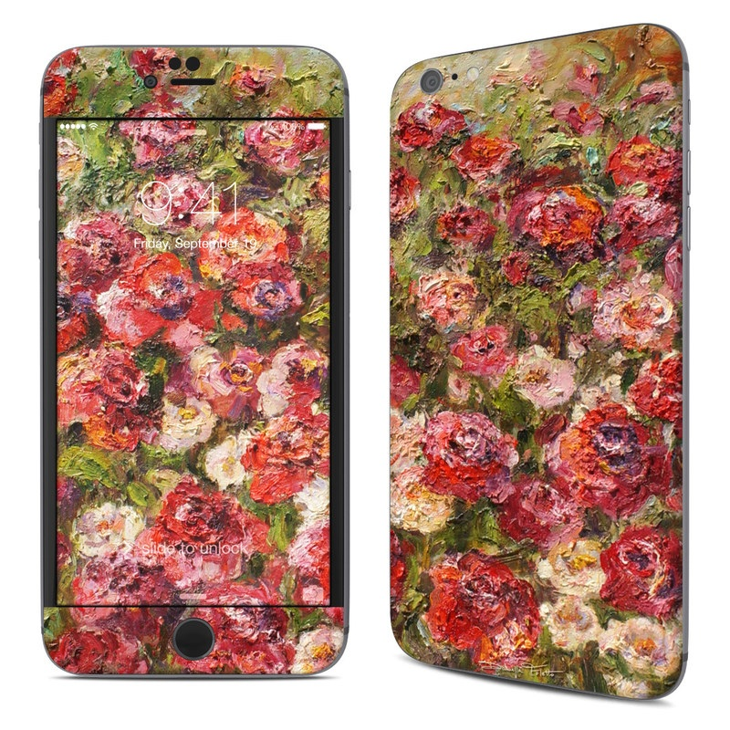 iPhone 6s Plus Skin design of Flower, Garden roses, Rose, Plant, Floribunda, Flowering plant, Rosa × centifolia, Rose family, Botany, Petal with red, black, green, gray colors