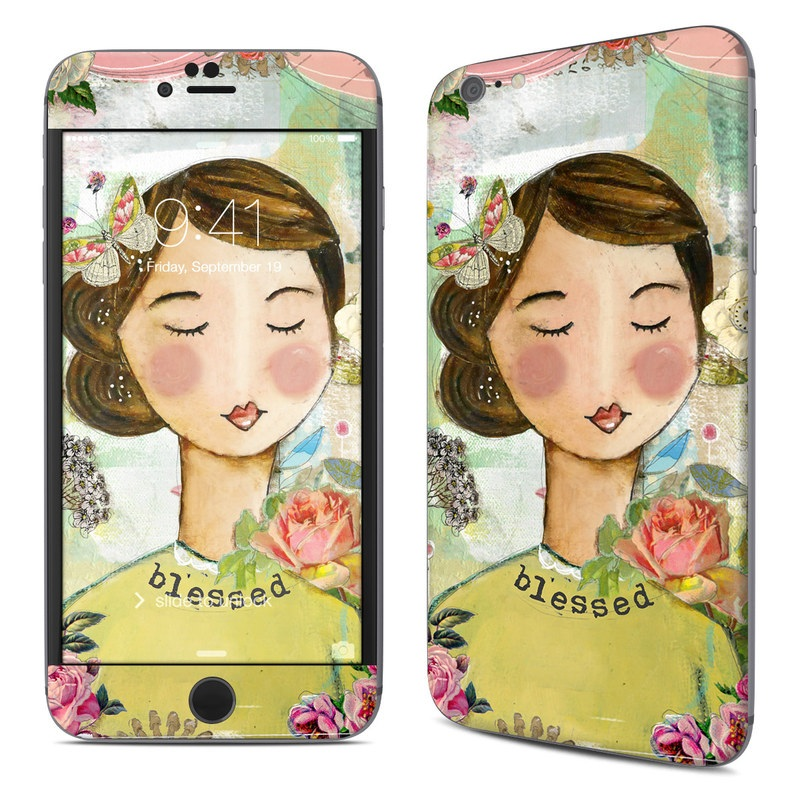 iPhone 6s Plus Skin design of Illustration, Cheek, Art, Watercolor paint, Retro style, Painting, Plant, Flower, Fashion illustration, Fictional character with pink, green, yellow, white, red, blue colors