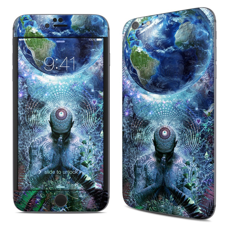 iPhone 6s Plus Skin design of Psychedelic art, Fractal art, Art, Space, Organism, Earth, Sphere, Graphic design, Circle, Graphics with blue, green, gray, purple, pink, black, white colors