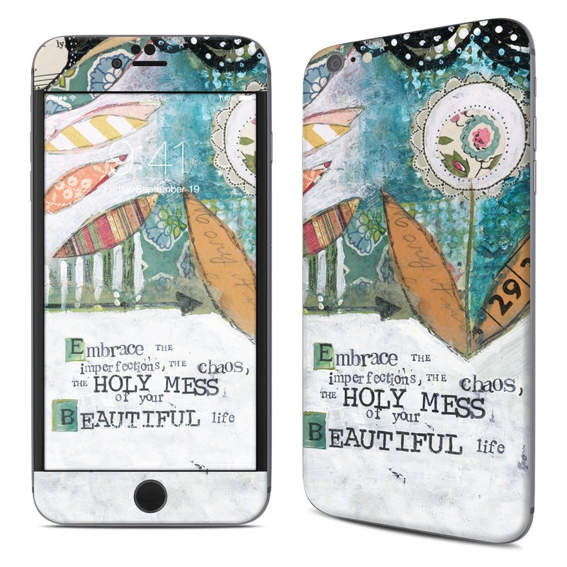 iPhone 6s Plus Skin design of Leaf, Font, Plant, Illustration, Art with blue, white, green, red, orange, yellow colors