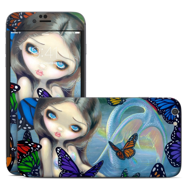iPhone 6s Plus Skin design of Butterfly, Insect, Monarch butterfly, Moths and butterflies, Cynthia (subgenus), Invertebrate, Pollinator, Brush-footed butterfly, Organism, Art with gray, black, blue, red, pink colors