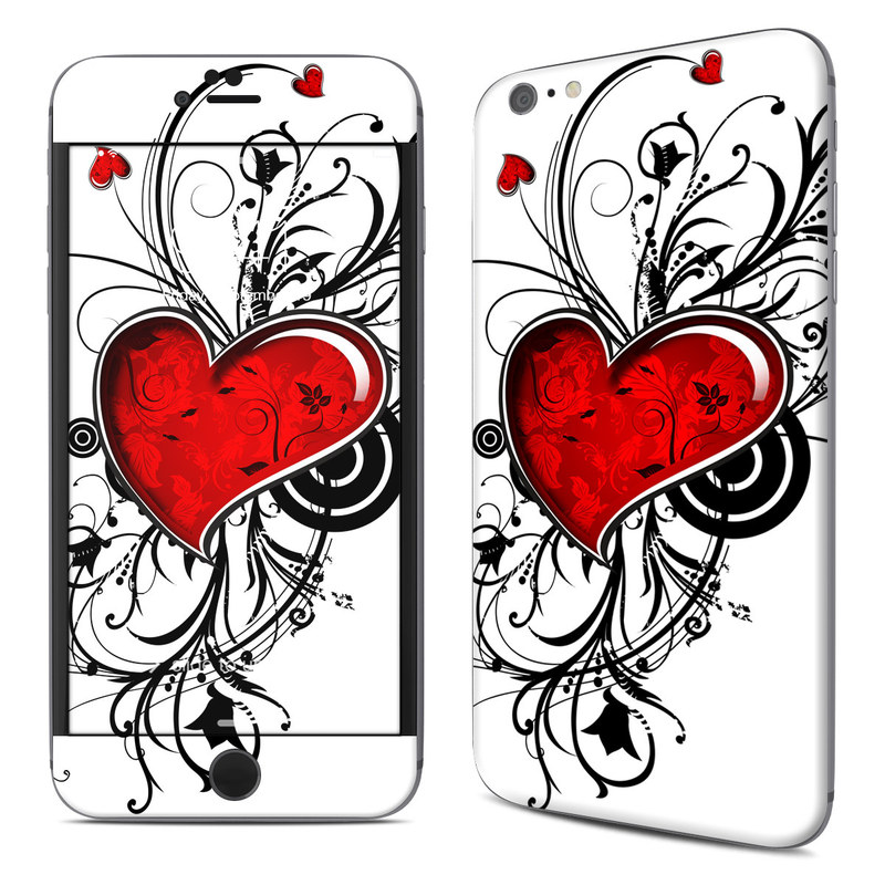 iPhone 6s Plus Skin design of Heart, Line art, Love, Clip art, Plant, Graphic design, Illustration with white, gray, black, red colors