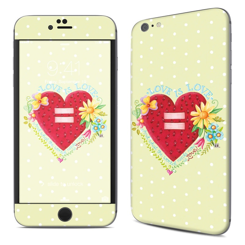 iPhone 6s Plus Skin design of Heart, Illustration, Pattern, Love, Valentine's day, Visual arts, Art, Graphic design with red, blue, yellow, orange, purple, green, pink colors