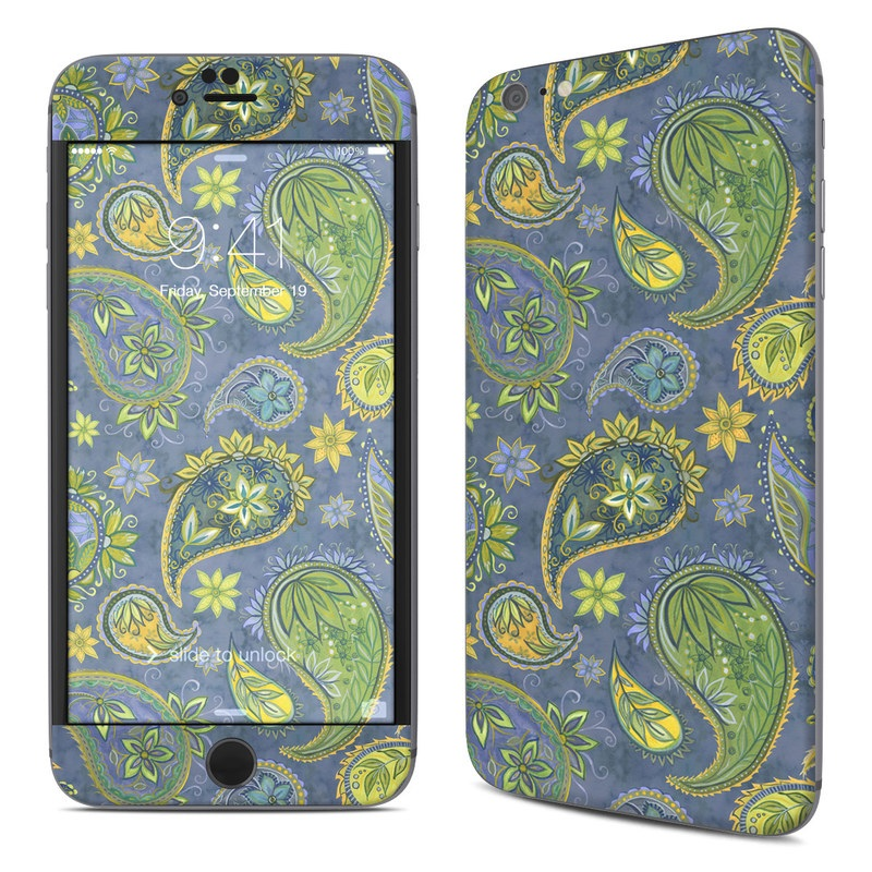 iPhone 6s Plus Skin design of Pattern, Green, Paisley, Motif, Visual arts, Art, Design, Textile, Organism with green, gray, blue, black colors