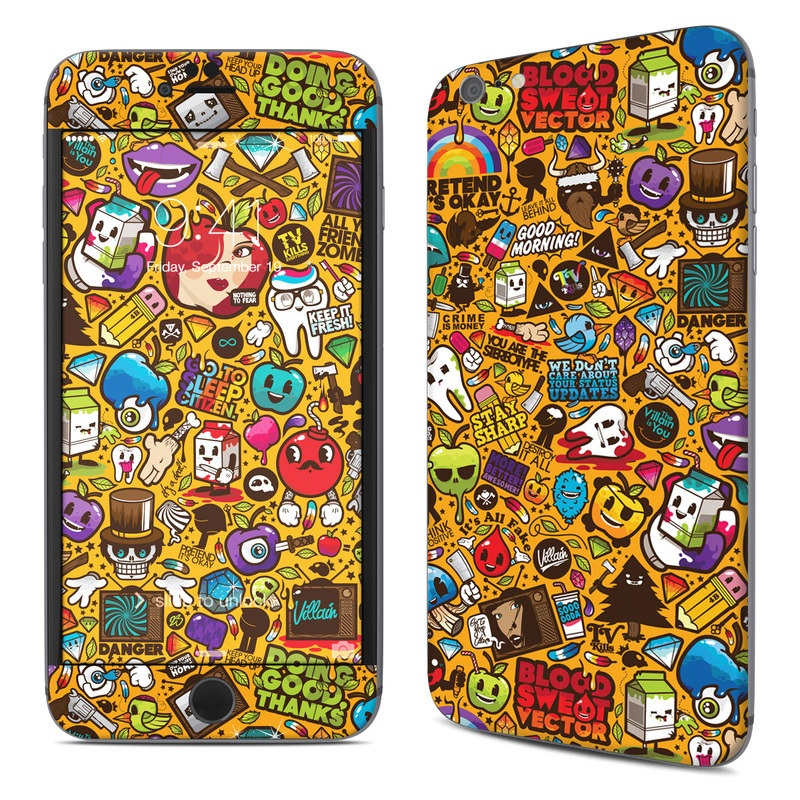 iPhone 6s Plus Skin design of Pattern, Psychedelic art, Visual arts, Art, Design, Illustration, Graphic design, Doodle with black, green, red, gray, orange, blue colors