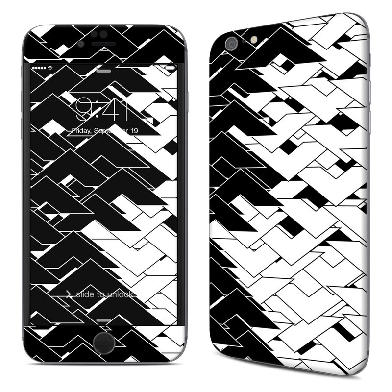 iPhone 6s Plus Skin design of Pattern, Black, Black-and-white, Monochrome, Monochrome photography, Line, Design, Parallel, Font with black, white colors