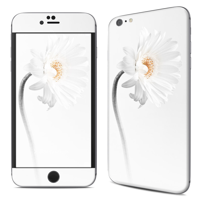 iPhone 6s Plus Skin design of White, Hair accessory, Headpiece, Gerbera, Petal, Flower, Plant, Still life photography, Headband, Fashion accessory with white, gray colors
