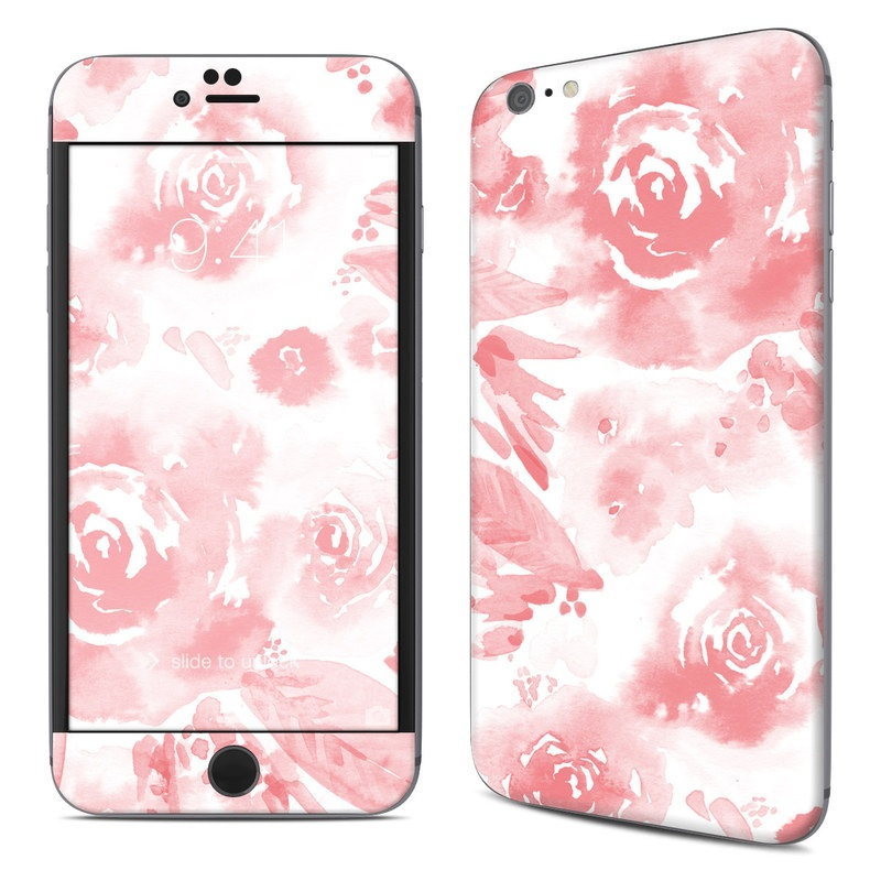 iPhone 6s Plus Skin design of Pink, Pattern, Rose, Design, Floral design, Rose family, Garden roses, Petal, Flower, Textile with white, red, pink colors