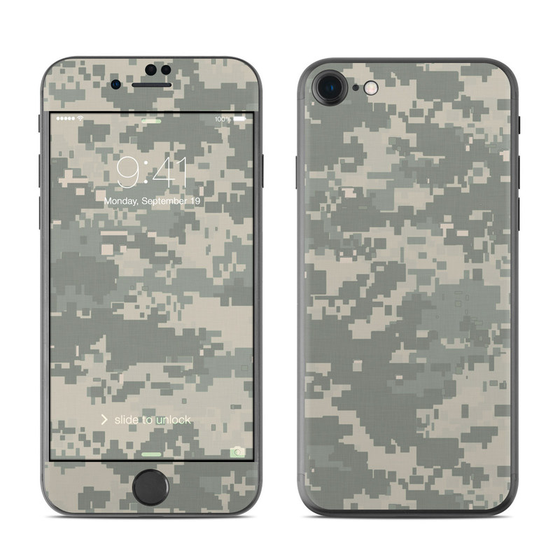 iPhone 7 Skin design of Military camouflage, Green, Pattern, Uniform, Camouflage, Design, Wallpaper with gray, green colors