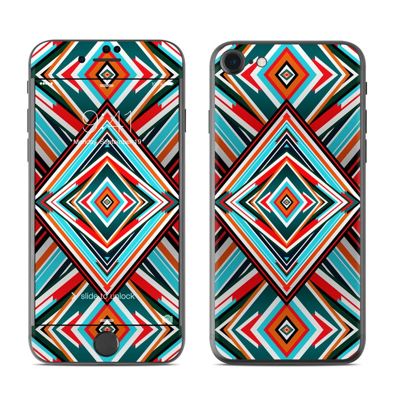 iPhone 7 Skin design of Pattern, Turquoise, Line, Symmetry, Teal, Design, Textile, Visual arts, Triangle with red, blue, white, black colors