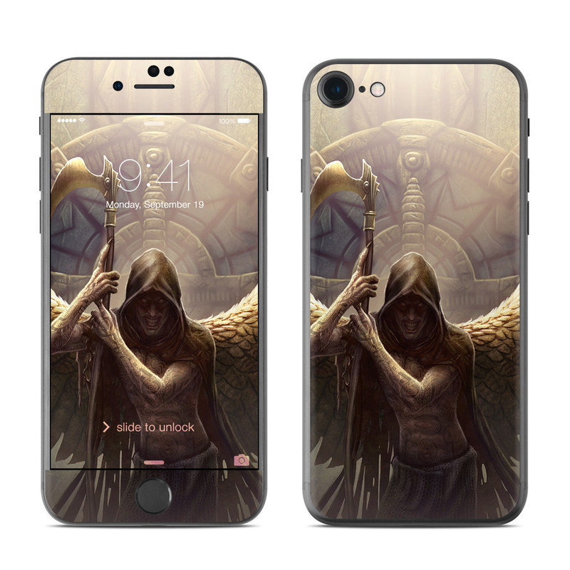 iPhone 7 Skin design of Angel, Wing, Mythology, Cg artwork, Supernatural creature, Fictional character, Illustration, Art, Graphics with brown, yellow, black colors