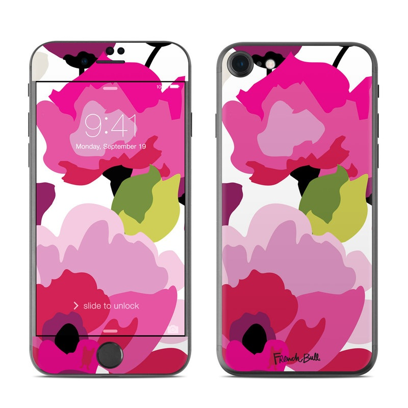 iPhone 7 Skin design of Pink, Flower, Pattern, Petal, Plant, Floral design, Design, Botany, Magenta, Anemone with white, pink, green, red colors