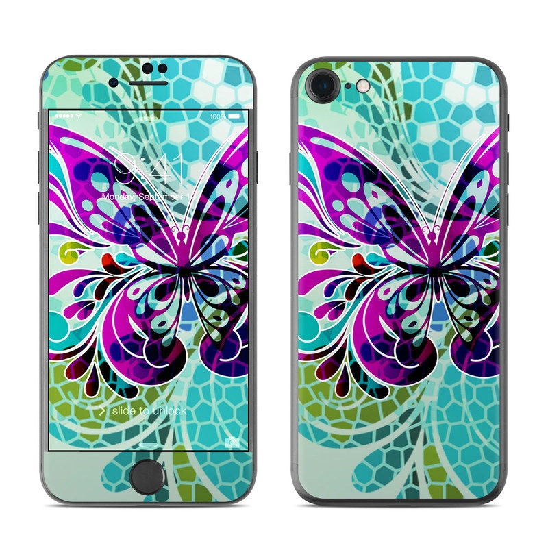 iPhone 7 Skin design of Butterfly, Pattern, Insect, Moths and butterflies, Purple, Graphic design, Design, Pollinator, Visual arts, Magenta with blue, green, purple colors