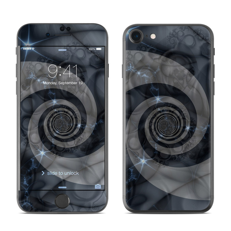 iPhone 7 Skin design of Eye, Drawing, Black-and-white, Design, Pattern, Art, Tattoo, Illustration, Fractal art with black, gray colors