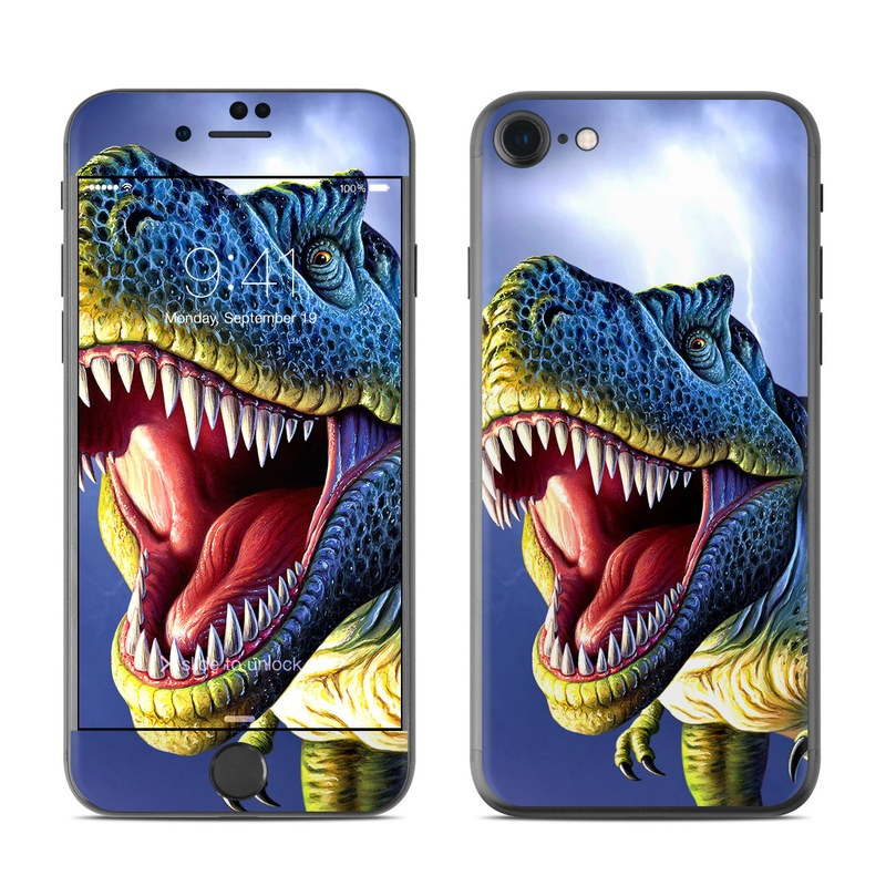 iPhone 7 Skin design of Dinosaur, Extinction, Tyrannosaurus, Velociraptor, Tooth, Jaw, Organism, Mouth, Fictional character, Art with blue, green, yellow, orange, red colors