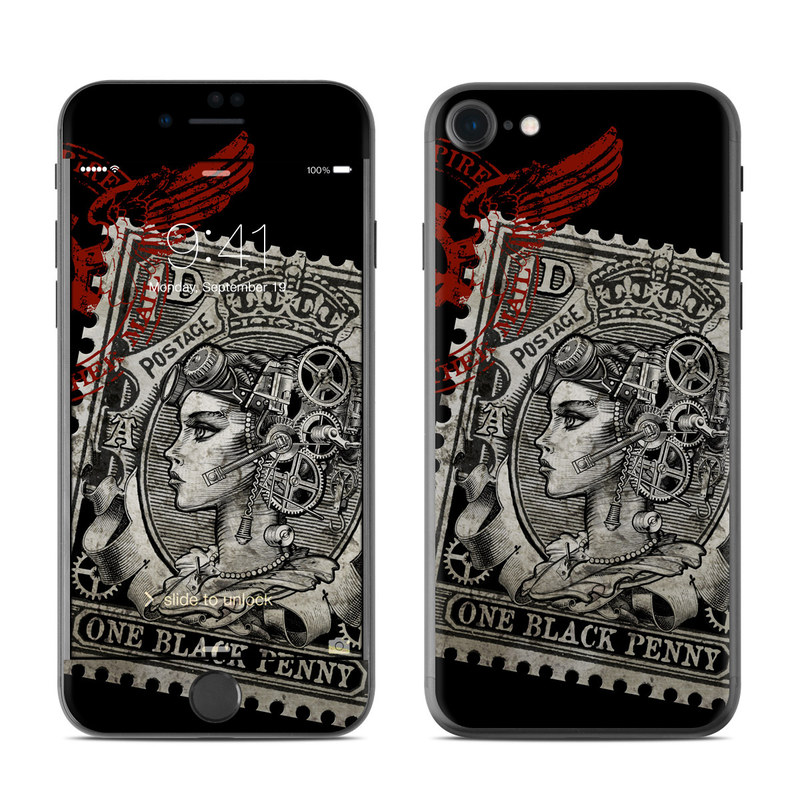 iPhone 7 Skin design of Font, Postage stamp, Illustration, Drawing, Art with black, gray, red colors