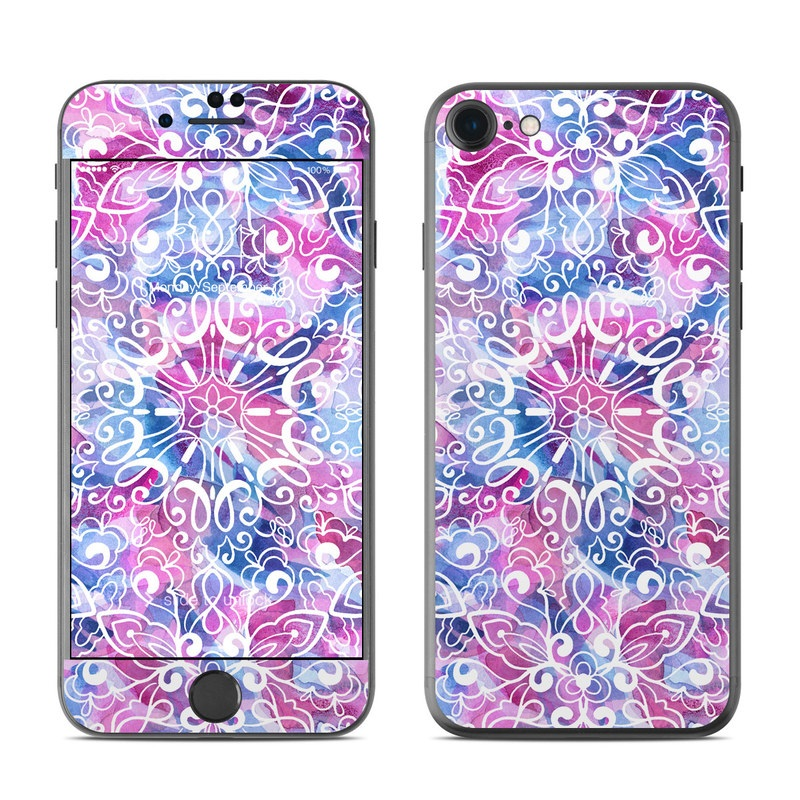 iPhone 7 Skin design of Pattern, Pink, Lilac, Design, Textile, Visual arts, Motif, Floral design, Plant with blue, pink, purple, white colors