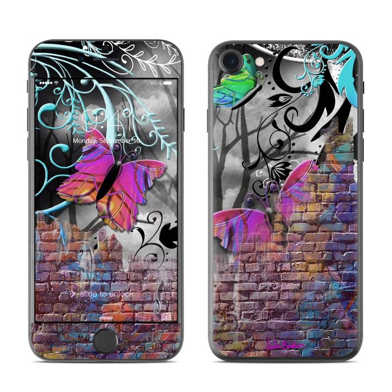 iPhone 7 Skin design of Purple, Graphic design, Art, Pattern, Graffiti, Organism, Street art, Wall, Font, Illustration with red, black, gray, purple, orange, blue, green colors