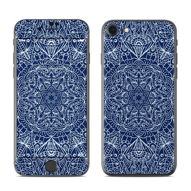 iPhone 7 Skin design of Blue, Pattern, Azure, Cobalt blue, Design, Textile, Electric blue, Wallpaper, Symmetry with blue, white colors