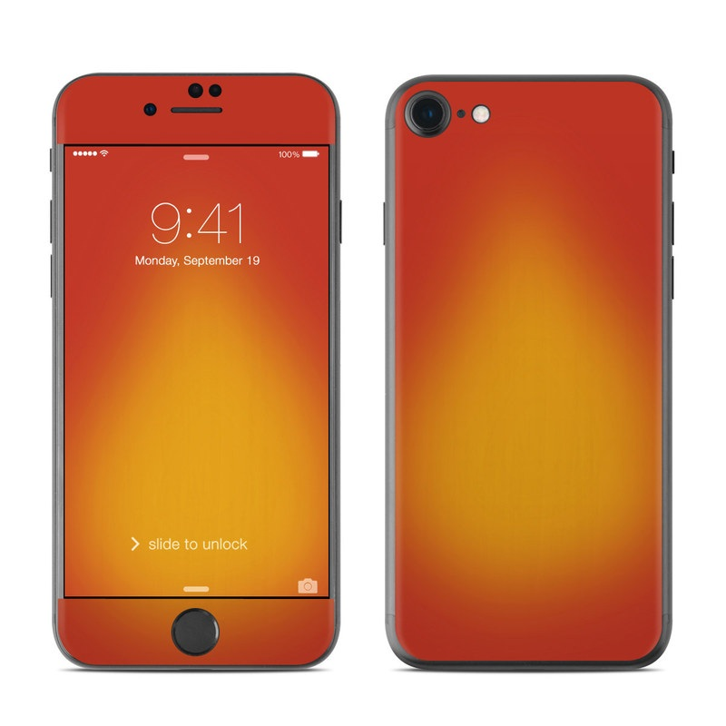 iPhone 7 Skin design of Red, Orange, Yellow, Green, Amber, Sky, Peach, Colorfulness with orange, yellow colors