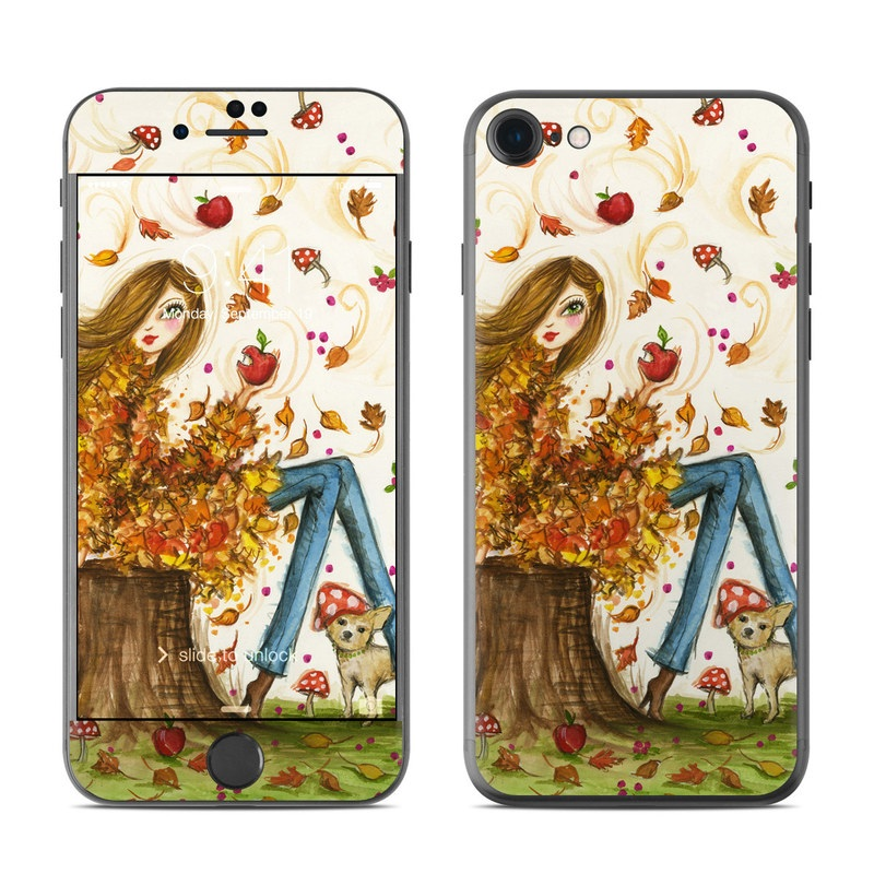 iPhone 7 Skin design of Tree, Wallpaper, Art, Illustration, Plant, Watercolor paint, Fictional character with green, brown, red, orange, yellow, white colors