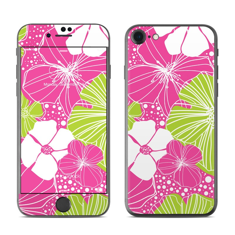 iPhone 7 Skin design of Pink, Pattern, Leaf, Design, Line, Plant, Clip art, Flower, Graphics, Floral design with purple, green, white, pink, gray colors