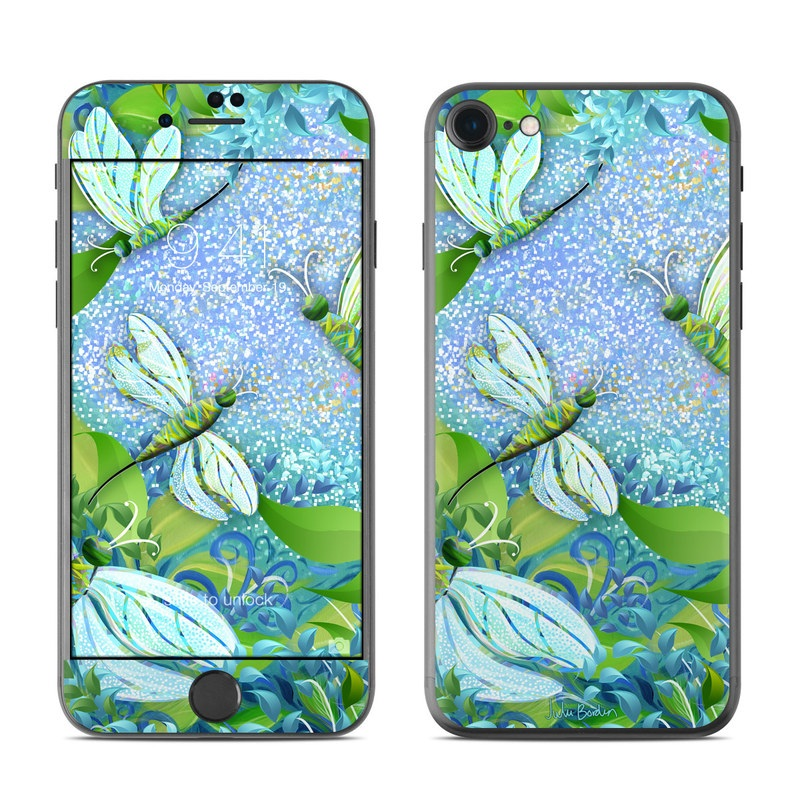 iPhone 7 Skin design of Green, Blue, Leaf, Plant, Pattern, Tree, Design, Organism, Branch, Flower with gray, blue, green, purple colors