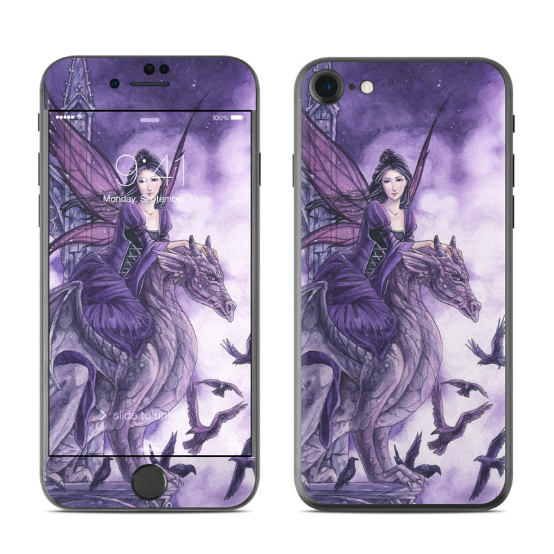 iPhone 7 Skin design of Cg artwork, Violet, Fictional character, Purple, Mythology, Illustration, Mythical creature, Woman warrior, Art with gray, blue, black, purple, pink colors